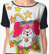 Retro Pink Poochie 80s Chiffon Top