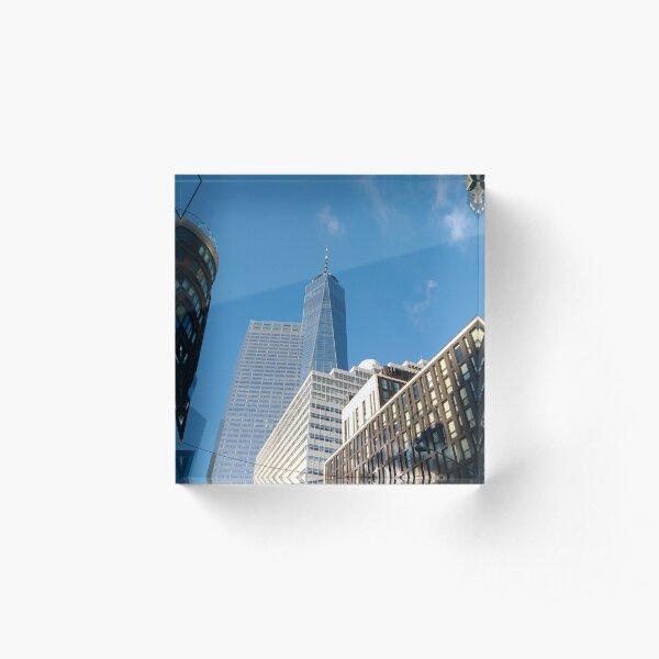 Building, Skyscraper, New York, Manhattan, Street, Pedestrians, Cars, Towers, morning Acrylic Block