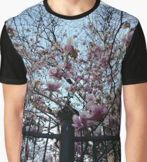 Building, Skyscraper, New York, Manhattan, Street, Pedestrians, Cars, Towers, morning, trees, Spring, flowers Graphic T-Shirt