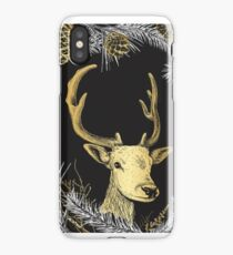 Deer in forest. Different Fir tree branches and cones iPhone Case/Skin