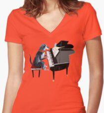 Piano lesson ( Doggy Art )  Camiseta entallada de cuello en V