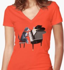 Piano lesson (Doggy Art) Women's Fitted V-Neck T-Shirt