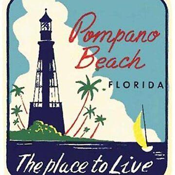 Pompano Beach, Florida Vintage Mid Century Travel Luggage Sticker by Framerkat