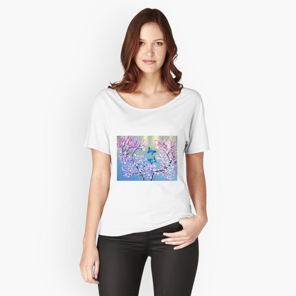 Schmetterlinge und Kirschblütenzweige Loose Fit T-Shirt