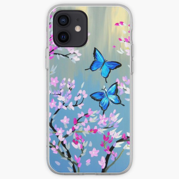 Butterflies and Cherry Blossom Branches iPhone Soft Case
