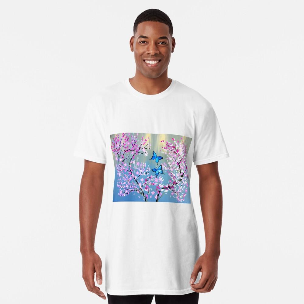 Schmetterlinge und Kirschblütenzweige Longshirt