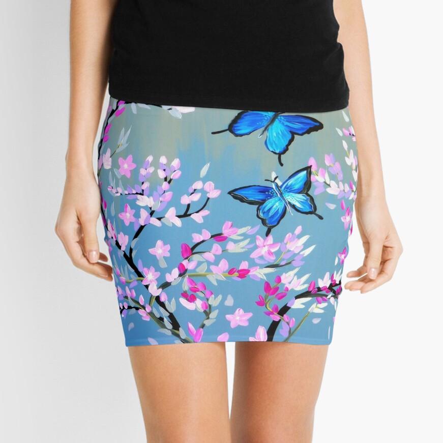 Schmetterlinge und Kirschblütenzweige Minirock