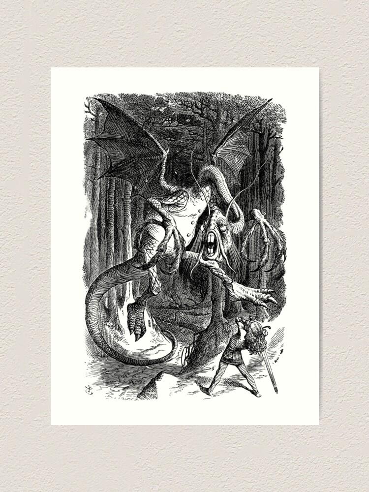 Jabberwocky Alice in Wonderland Dictionary Art Print Picture Jabberwock Poster