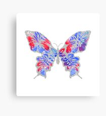 Red, White, and Blue Watercolor Butterfly Canvas Print