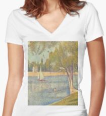 The river Seine at La Grande-Jatte-Georges Seurat Women's Fitted V-Neck T-Shirt