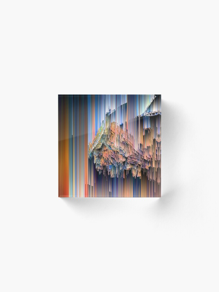 Alternate view of Weird Glitches - Abstract Pixel Art Acrylic Block