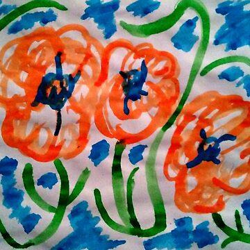 Dancing Orange Flowers by Hot-Chocolate