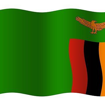 Zambian flag waving by stuwdamdorp