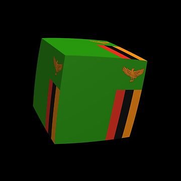 Zambian flag 3d cubed by stuwdamdorp