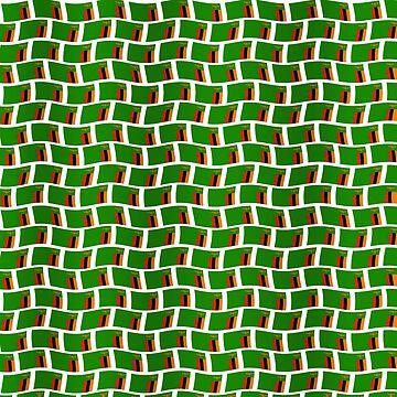 Cut out - Zambian flag tiled pattern. by stuwdamdorp