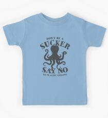 Octopus Seien Sie kein Sucker Sagen Sie Nein zu Plastikstrohhalme Kinder T-Shirt