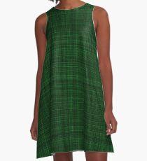 Dark Green Plaid A-Line Dress