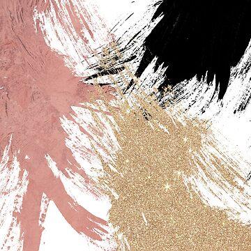 Giant Artsy Brushstrokes in Gold Rose Gold Glitter by Blkstrawberry