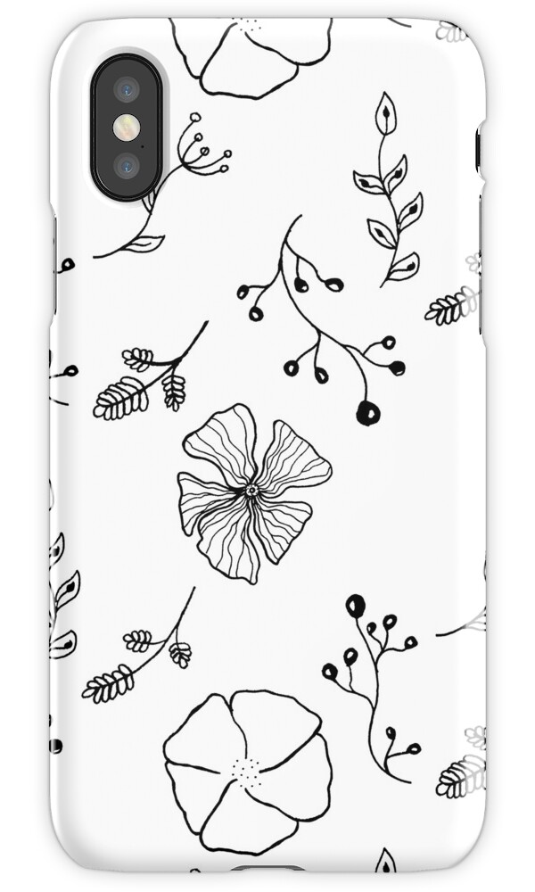 Black and White Botanical Doodle