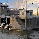 New Bedford hurricane barrier gate by Nancy Richard