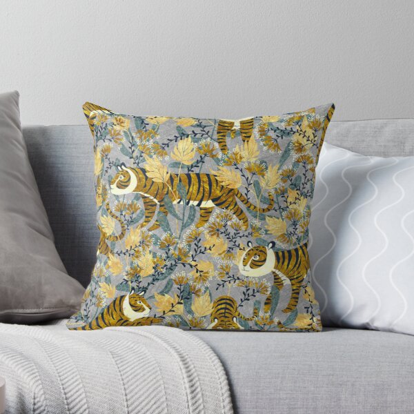 Tiger in grey Throw Pillow