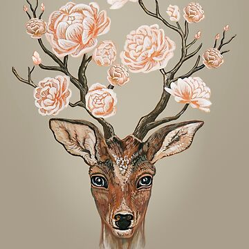Deer and Peonies  by Ruta