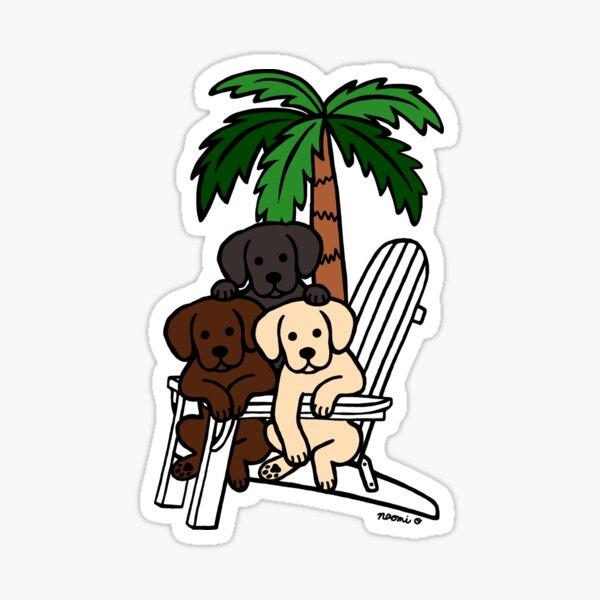 Beach Deck Chair Labradors Sticker