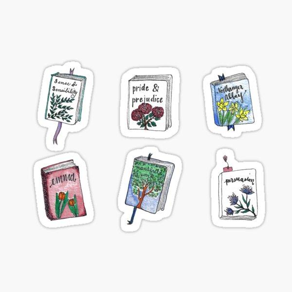 Jane Austen livres avec des fleurs! Sticker