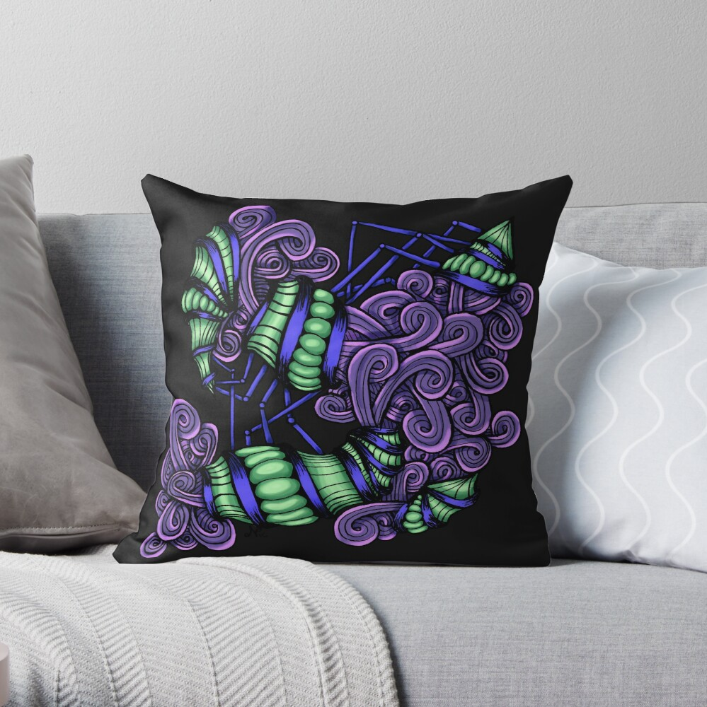 Zentangle Squishy Spirals Throw Pillow