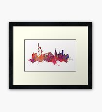 New York city Skyline red Framed Print