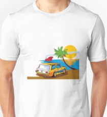 Vintage Station Wagon on Beach Retro Unisex T-Shirt