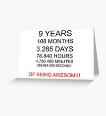 9 years Awesome Kids Birthday Gift Idea Greeting Card