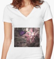 Beautiful Butterfly Fitted V-Neck T-Shirt
