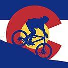 Mountain Biking Colorado Flag by CoolCarVideos