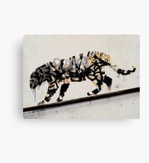 banksy graffiti art leopard Canvas Print