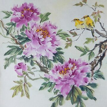 Peony and Yellow Birds by PixelQube32