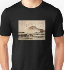 'Mountain Landscape with a Bridge' by Katsushika Hokusai (Reproduction) Unisex T-Shirt