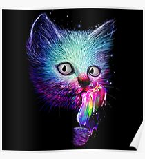 Rainbow licking cat Poster