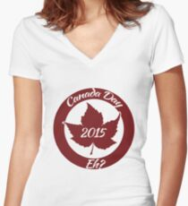 Canada Day 2015 Women's Fitted V-Neck T-Shirt