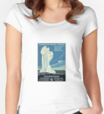 Vintage Yellowstone Travel Poster Women's Fitted Scoop T-Shirt