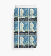 Vintage Yellowstone Travel Poster Duvet Cover