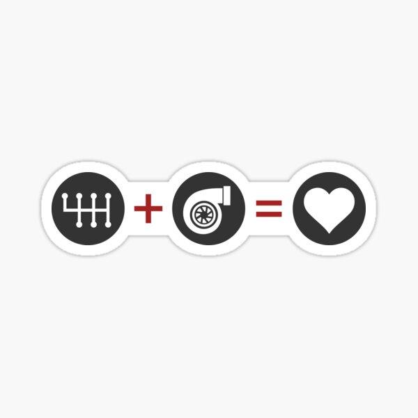 Manual Transmission Plus Turbo Equals Love Sticker