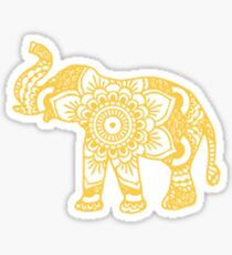 yellow mandala elephant Sticker