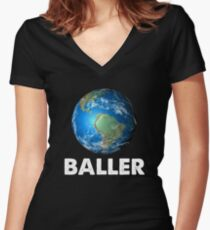 baller Women's Fitted V-Neck T-Shirt