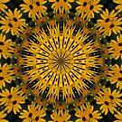 Black-Eyed Susans Abstract Mandala Kaleidoscope 1 by Artist4God