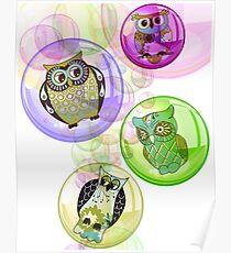 4 Bubbly Owls - Fantastic Owl Art / Tshirt Design Poster