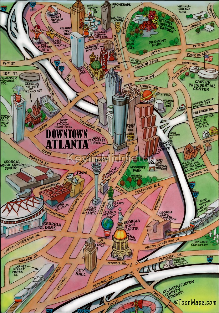 This is a graphic of Sweet Printable Map of Atlanta