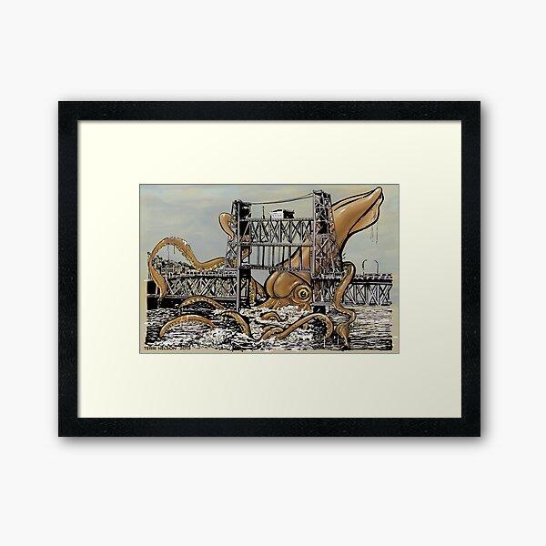 Kraken vs. The Steel Bridge Framed Art Print