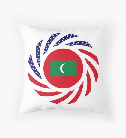 Maldivan American Multinational Patriot Flag Series Throw Pillow