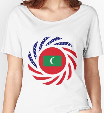 Maldivan American Multinational Patriot Flag Series Relaxed Fit T-Shirt